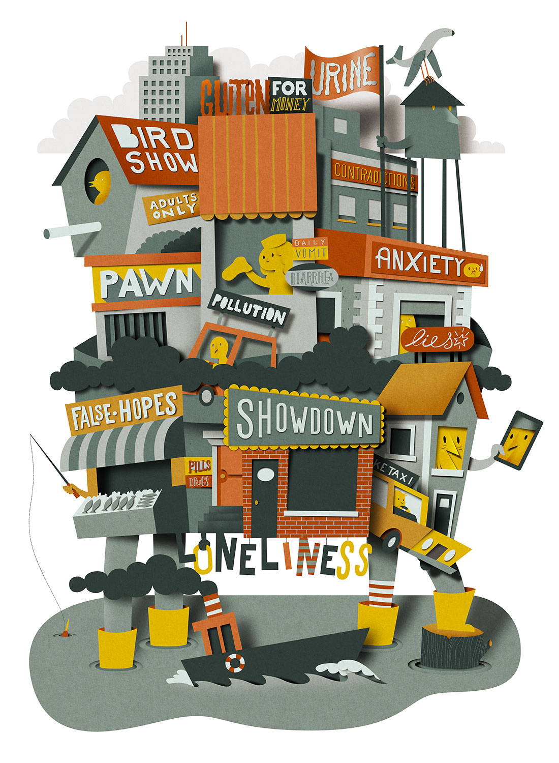 Richard Solomon - habitat_poster_illustration_papercut_bomboland2