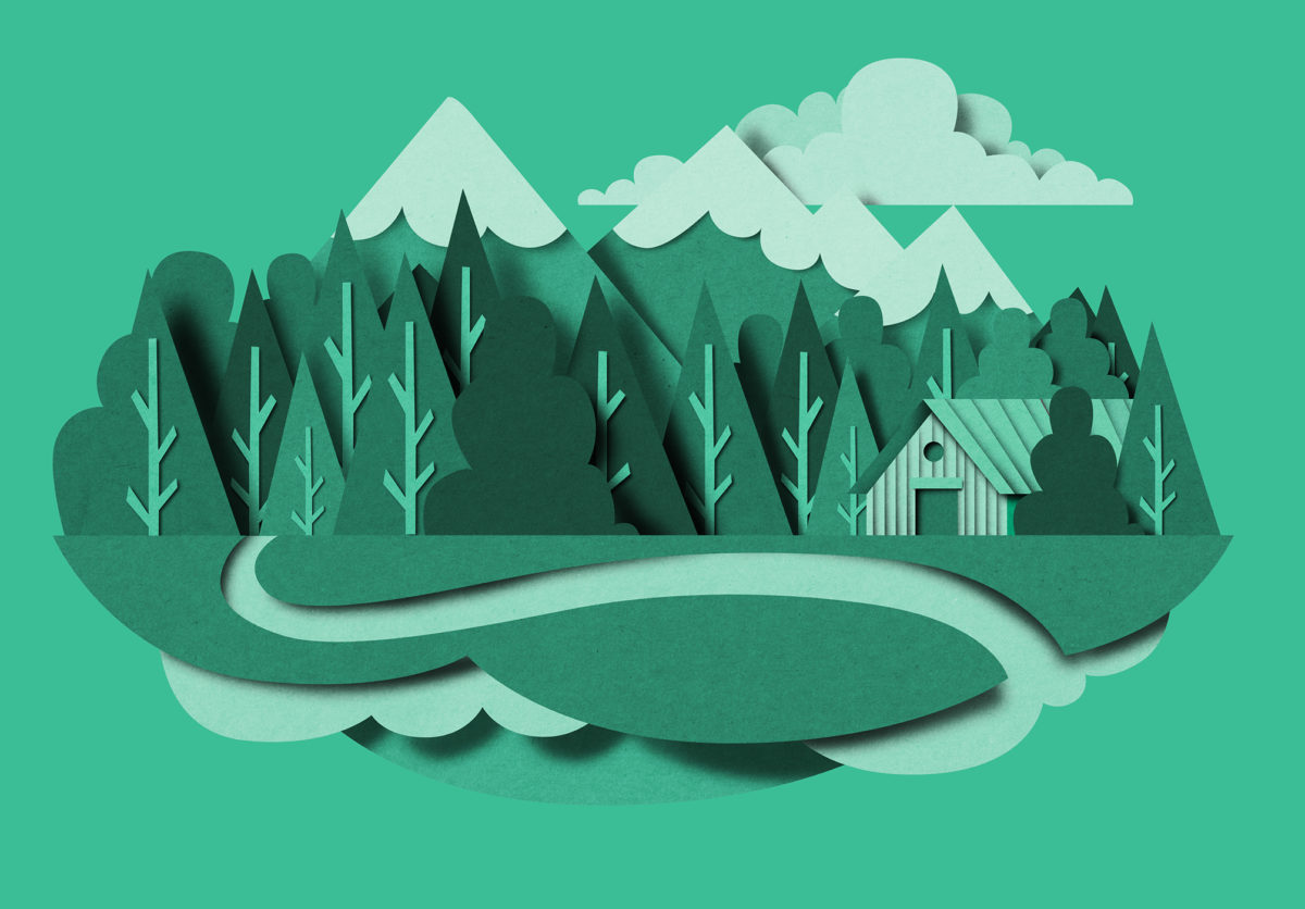 Richard Solomon - papercut_lanscape_mountain_holiday_green_bomboland